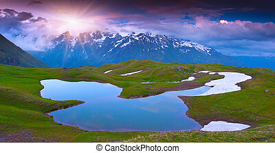 Caucasus, Bjerge, sø,  Alpine