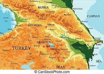 caucasus, kaart, lichamelijk