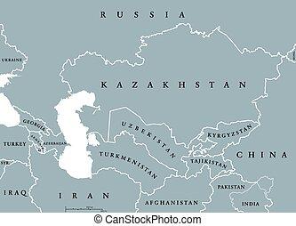 caucasus, mappa, asia centrale