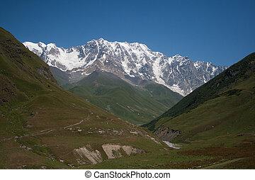Caucasus Mountains in Georgia - Mount Shkhara in Svaneti....
