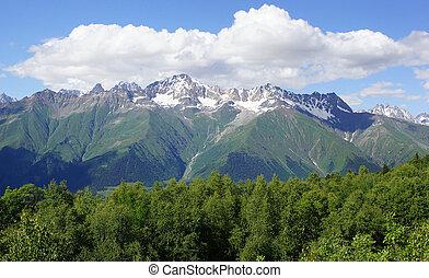 Caucasus Mountains, Mestia, Georgia - Panorama of the...