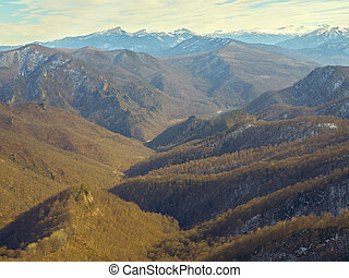 Caucasus mountains on a winter day.