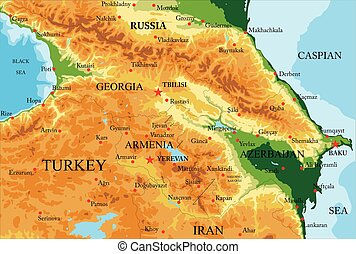 Highly detailed physical map of Caucasus area, in vector format, with all the relief forms, countries and big cities