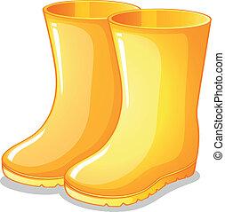 caucho, amarillo, botas