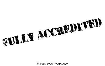 caucho, completamente, accredited, estampilla