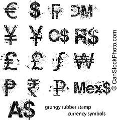 caucho, conjunto, señal, símbolos, moneda, vector, grungy,...
