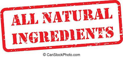 caucho, estampilla, todos,  natural, ingredientes