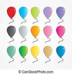 caucho, globo, conjunto, colorido