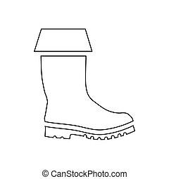 caucho, icono, estilo, bota, contorno