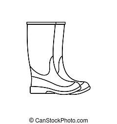 caucho, icono, estilo, contorno, botas