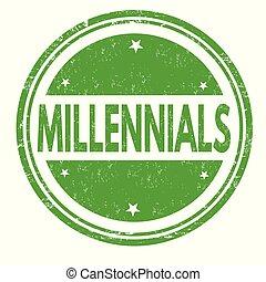 caucho, millennials, grunge, estampilla