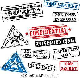 caucho, seguridad, sellos