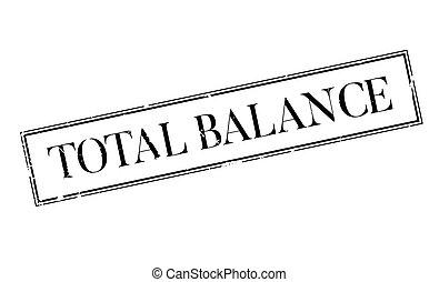 caucho, total, balance, estampilla