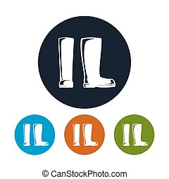 caucho, trabajando, botas, icono