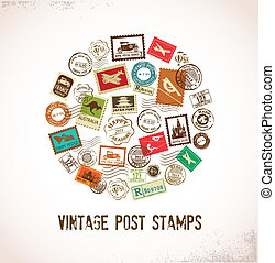 caucho, vendimia, sellos, vector, plano de fondo
