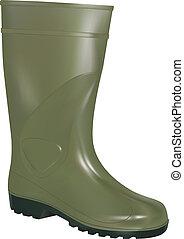 caucho, verde, bota