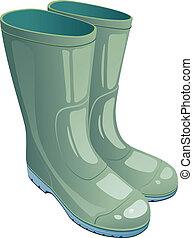 caucho, verde, botas