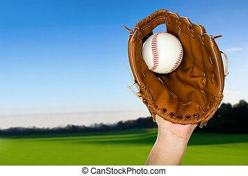 caught, baseballowa rękawiczka, outdoors