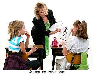 Caught by Teacher - Young student getting caught drawing...