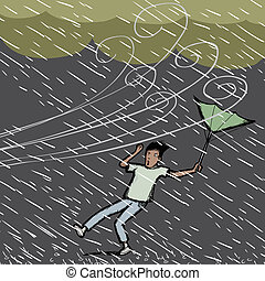Caught in Rain - Young Hispanic man caught in a gust of wind...