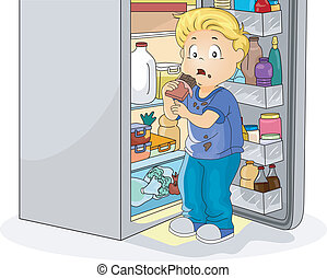 Illustration Featuring a Little Boy Caught Eating Chocolate
