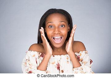 Caught off guard - Closeup portrait of happy cute young...