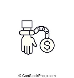 Caught taking bribe linear icon concept. Caught taking bribe line vector sign, symbol, illustration.