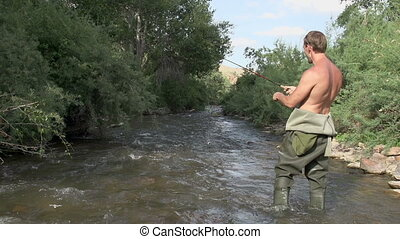 Caught Trout - Fisherman pulls out of the water trout. He is...