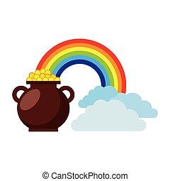 cauldron coins treasure rainbow clouds fantasy