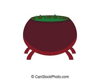 cauldron, com, poção, e, bolhas, isolado, branco, experiência., dia das bruxas, desenho, element., vetorial, ilustração
