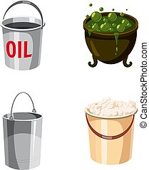 Cauldron icon set, cartoon style