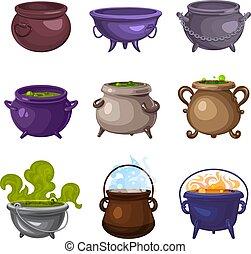 Cauldron icons set, cartoon style