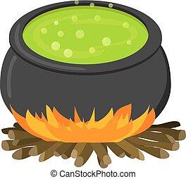 cauldron, ligado, firei, em, apartamento, estilo