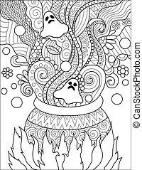 Cauldron - Line art design of cauldron boiling poison for...