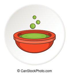 Cauldron of brew icon, cartoon style