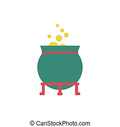 cauldron witch fairytale object isolated icon vector ...