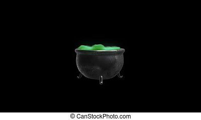 Cauldron witch with green liquid with an alpha channel HD