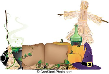 Halloween witchcraft - Cauldron with a magic potion, witch...