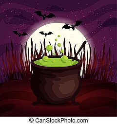 cauldron with bats flying in scene halloween