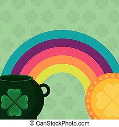 cauldron with coin and rainbow