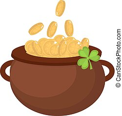 Cauldron with coins, icon flat style. St. Patrick's Day symbol. Isolated on white background. Vector illustration.