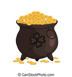 Cauldron with gold Isolated on a white background. Vector graphics.