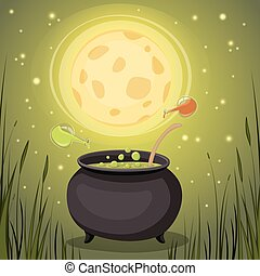 Cauldron with magical potion in a dark fores