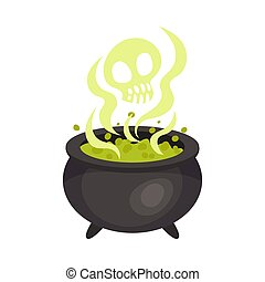 Cauldron with potion. Halloween object. Vector illustration.