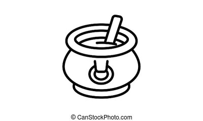 Cauldron with soup icon animation outline best object on white background