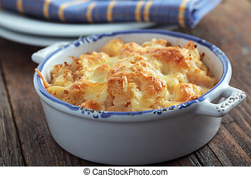 Cauliflower cheese in a baking dish