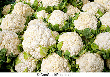 Fresh ripe cauliflower for sale in a market