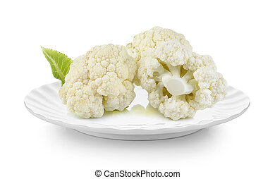 cauliflower in plate on white background