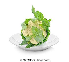 cauliflower in plate on white background
