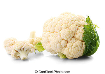 cauliflower isolated - cauliflower with green leaves...